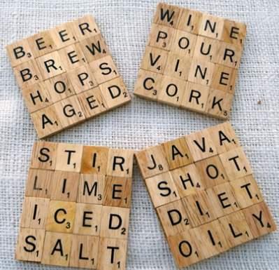 Scrabble en el posavasos